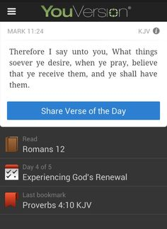This is the best bible app for any android phone. It has daily bible scripturers and you can chose plans to help you study!