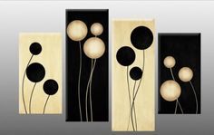 """Large Black and Cream Abstract Canvas artwork Picture 4 pieces multi panel split canvas completely ready to hang hanging cord attached, hanging template included for easy hanging, hand made printed to order UK company 40"""" width 28"""" height"""