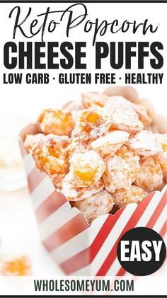 Keto Popcorn (Cheese Puffs Recipe) - Is popcorn keto? Learn why not, and how to make this keto popcorn recipe instead. You'll be surprised how well these keto cheese puffs (a.k.a. puffed cheese) replace the carbs in popcorn on a keto diet. #wholesomeyum #keto #ketorecipes #popcorn Low Carb Appetizers, Low Carb Desserts, Low Carb Recipes, Real Food Recipes, Cooking Recipes, Cheese Puffs, Keto Cheese, Popcorn Recipes, Snack Recipes
