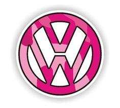 VW Pink Camo Logo Sticker