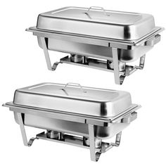 Stainless Steel Chafing Dish Full Size Chafer Dish Set 2 Pack of 8 Quart For Catering Buffet Warmer Tray Kitchen Party Dining - Walmart.com - Walmart.com Wedding Buffet Food, Party Buffet, Brunch Table Setting, Catering Buffet, Buffet Set, Hotel Breakfast, Pan Sizes, Chafing Dishes, Dish Sets