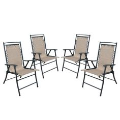 Fitzpatrick 4-Piece Sling Patio Comfort Chair Set - Tan.Opens in a new window