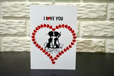 I LOVE YOU card, Anniversary Card, Valentine's day card, Love Card, No occasion card by NishsCreations on Etsy