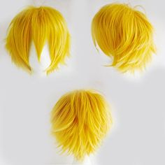 Anime Cosplay Synthetic Full Wig with Bangs 20 Styles Short Layered Fluffy Hair Oblique Fringe Full Head Unisex for Man and Women Girls Lady Fashion Yellow -- Continue to the product at the image link.