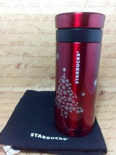 Starbucks Stainless Steel coffee press Grounds cup,.Red Christmas 10.Oz.travel.