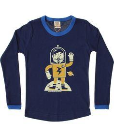 Retro-Rock-and-Robots cool dark blue T-shirt with retro Moonwalker. retro-rock-and-robots.en.emilea.be