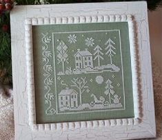 cross stitch patterns : Snow White Little House Needleworks Christmas winter monochromatic December hand embroidery