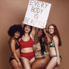 Diverse female group with every body is beautiful poster Diverse female group with every body is beautiful placard Diverse female group with every body is beautiful placard innamoment - Beach Bikini