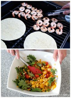 Outdoor Oasis Party Food- Shrimp Tacos with Toasted Chipotle Corn and Tomato Salad