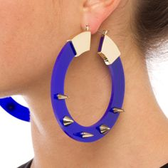 Social Circle blue studded earrings - ShoeDazzle