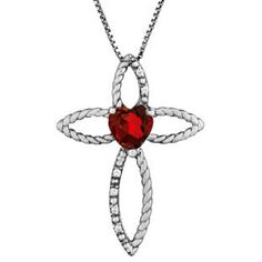 Diamond Birthstone Garnet Heart Cross Pendant In Black Rhodium White Gold Gemologica.com offers a unique simple selection of #handmade #fashion #fine #jewelry for #men #women #children to make a statement. We offer #earrings #bracelets #necklaces #pendants #rings with #gemstones #diamonds #birthstones available in Sterling #Silver 10K 14K 18K #yellow #rose #white #gold #titanium silver #metal. Shop Gemologica jewellery now for cool cute design ideas Gemologica Customer Reviews