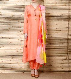 Peach Silk Salwar Suit with Hand Painted Georgette Dupatta