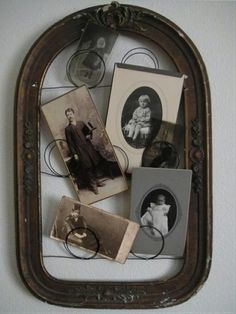 Antique Vintage Decor What a great way to use an old frame! Loop the wire to Display vintage photos. by Hercio Dias Old Frames, Vintage Frames, Vintage Decor, Empty Frames, Vintage Picture Frames, Rustic Frames, Vintage Display, Old Pictures, Old Photos