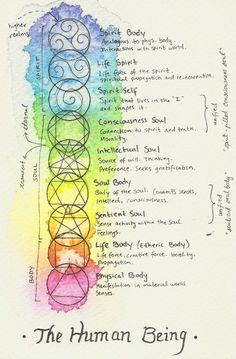 Lehre des Menschen nach Rudolf Steiner, englisch I've been trying to visually interpret my understanding of theosophy, and I thought I'd share my paintings and notes with all of you. I've only finished one diagram, but I plan on… Rudolf Steiner, Chakra Meditation, Chakra Healing, Kundalini Yoga, Wiccan Spells, Magick, Satanic Spells, Witchcraft Symbols, Witch Symbols