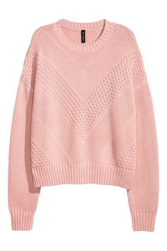 Light pink. Textured-knit sweater in cotton-blend fabric. Dropped shoulders and ribbing at neckline, cuffs, and hem.