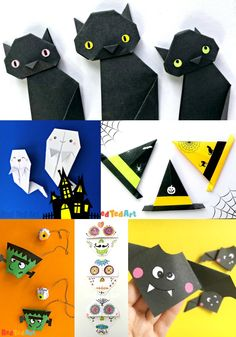 Halloween Origami – Easy Paper Folding for Kids Fun and easy Halloween Origami Projects for kids. Choose from a number of fun paper crafts to make this Halloween. There are Origami Toys, Origami Bookmarks and cute Origami decorations! Basic Origami, Origami Simple, Easy Origami For Kids, Cute Origami, Halloween Crafts For Kids To Make, Paper Crafts For Kids, Halloween Activities, Easy Halloween, Indoor Activities