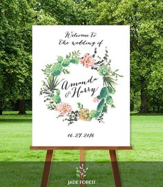 Floral Wedding Welcome Sign DIY // Welcome To Our Wedding // Pink Flowers and Cactus Succulent // Mexican Fiesta PDF ▷ Personalized Sign