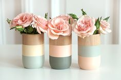 Paint mason jars in style of these colorblock wooden vases?