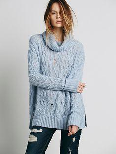 Free People Love Worn Cable Turtleneck at Free People Clothing Boutique