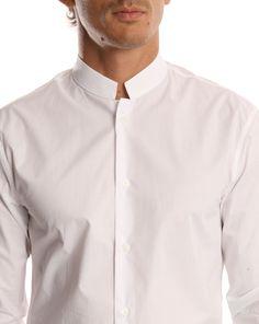 officer's collar | MELINDA GLOSS MG Officer Collar White Shirt More