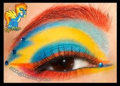 Colorful eye make-up with crystal accents inspired by Spitfire of My Little Pony fame.