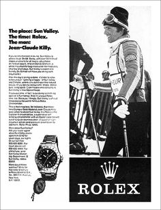 Jean Claude Killy and Rolex - Collecting Watches vrei un ceas - am unu si nu-l port - ca si eu am o clectie - dar sunt ignorant ion dragos sir eteanu Vintage Rolex, Vintage Watches, Vintage Advertisements, Vintage Ads, Rolex Sale, Cool Watches, Rolex Watches, Most Expensive Rolex, Oyster Perpetual Cosmograph Daytona