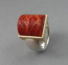 Goldringe - Silberring Goldring Koralle 925 Silber 750 Gold - ein Designerstück von AnnetteFehrenbachSchmuck bei DaWanda