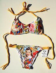 MEXICANA - Basket Weave Braided Bikini. Handmade Bikini. Colombian Bikini. Yellow.