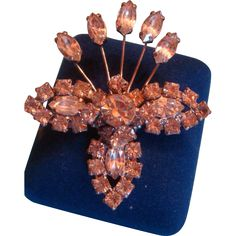 Kramer of New York Figural Rhinestone Crystal Brooch Prong Set