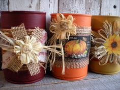 3 Aluminum cans, Autumn, Altered Cans, Fall, THANKSGIVING, Harvest time, mustard, orange, brick, red, distressed, Painted, UpCycled, Centerpiece