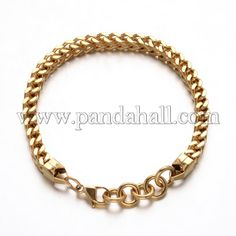 304 Stainless Steel Curb Chain Bracelets with Lobster Claw Clasps Golden 245mm