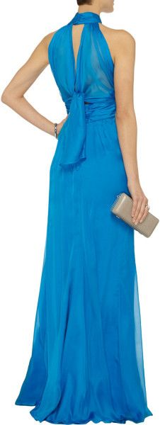 Badgley Mischka Gathered Silk Chiffon Gown in Blue (Bright blue) - Lyst