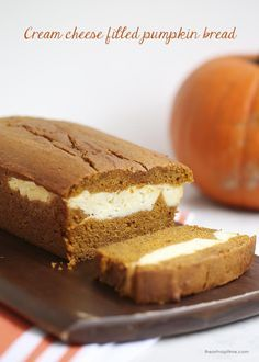 If you are a pumpkin lover, you are going to love this pumpkin bread filled with cream cheese frosting. It has the perfect amount of pumpkin spice and the cream cheese adds a delicious flavor.