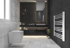white curved heated towel rail, homebase, affiliate partner Dark Bathrooms, Retro Bathrooms, Modern Bathroom, Small Bathroom, Bathroom Ideas, Wooden Toilet Seats, Bathroom Sink Taps, Basin Vanity Unit, Mixer Shower