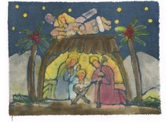 Betlehem / Christmas painting / original picture / by marybatik