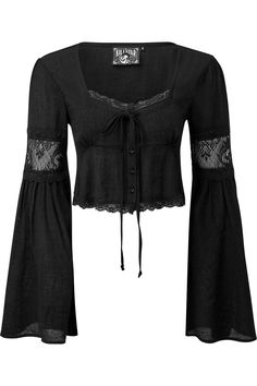 Killstar Haight Harlow Long Sleeve Top The gorgeous Haight Harlow top from Killstar is made from a lovely soft crinkle fabric and features black lace detailing on the bust and long bell sleeves. Mode Alternative, Alternative Outfits, Vintage Glam, Mode Vintage, Gothic Fashion, Look Fashion, Witch Fashion, Steampunk Fashion, Mode Outfits