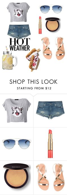 """hot weather"" by fashion-life4me ❤ liked on Polyvore featuring True Religion, Christian Dior, Estée Lauder, Laura Mercier and Ancient Greek Sandals"