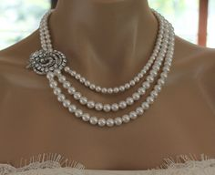 Swarovski Crystal and Pearl Wedding Necklace Bridal by JamJewels1