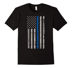Men's Police United Shirts - Thin Blue Line Police Flag Large Black -- Awesome products selected by Anna Churchill