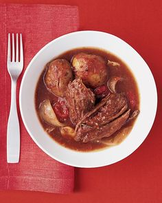 Italian Pot Roast Recipe -- it takes only 15 minutes of prep to assemble this hearty, homey dish; let your slow-cooker do the rest.