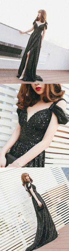 Black off shoulder sequin long prom dress, black evening dress