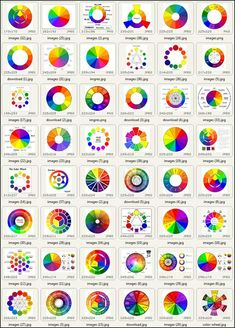 """The Dimensions of Colour """"Figure 2.1. Forty eight traditional colour theory diagrams from a Google image search for """"colour wheel"""", All forty eight would have been found to include some highly inaccurate complementary pairs if they had been checked using the simplest of tests, as in Fig. 2.3 A,B."""""""