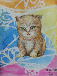 Sara: Postcard with cat~For a good reason to help someone .