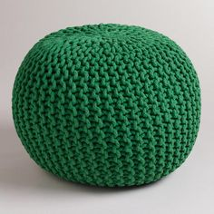 """Green Grass Knitted Pouf from World Market (also comes in Orange) 16""""dia. x 20"""" H"""
