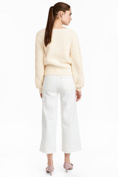 Denim culottes High waist - White denim - | H&M GB 1