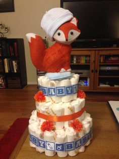 Fox themed diaper cake, super cute and easy