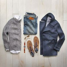 Outfit grid - Peacoat & layers