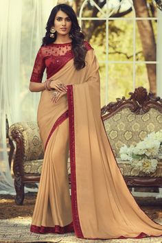 Online Shopping of Art Silk Fabric Trendy Party Style Chikoo Color Saree With Embroidered Blouse from SareesBazaar, leading online ethnic clothing store offering latest collection of sarees, salwar suits, lehengas & kurtis Peach Color Saree, Saree Wearing Styles, Bollywood Sarees Online, Bridal Lehenga Choli, Party Wear Sarees, Indian Ethnic Wear, Blouse Online, Festival Wear, Embroidered Blouse