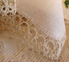 Circa 1920s Never Used Irish Linen Hanky Adorned With Lovely Tatting and…