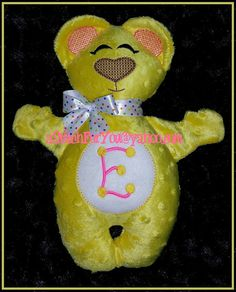BeAR MoNOGRAM or NaME Applique 3D Plush Softie by astitchforyou (Craft Supplies & Tools, Patterns & Tutorials, Embroidery, digitized design, gift, Plush Toy, Doll, Bear, baby, school, awareness, party, monogram, name, add on)
